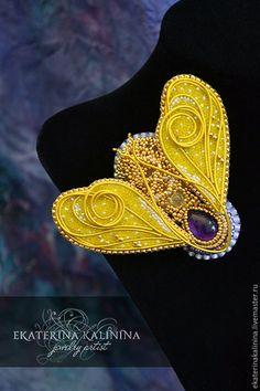 """Купить брошь """"Посланник солнца"""" - золотой, аметист, цитрин, брошь, муха, бабочка, пчела"""