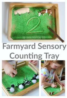 Farmyard Sensory Writing and Counting Tray - The Imagination Tree - Make a simple farmyard sensory counting and writing tray for preschoolers to practise numbers and m - Eyfs Activities, Nursery Activities, Preschool Activities, Animal Activities For Kids, What The Ladybird Heard Activities, Farmer Duck, Farm Animals Preschool, Preschool Farm Theme, Party Mottos