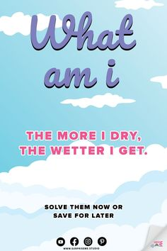 The more I dry, the wetter I get. What am I? Mystery Riddles and Brain Teasers. Picture Riddles. Riddles for Kids. Riddles with Funny answers. Logic Riddles for Critical Thinking. Surprise Me. What Am I Riddles, Hard Riddles, Funny Riddles, Riddles With Answers, English Riddles, Animal Riddles, Mystery Riddles, Tricky Questions, Brain Teasers