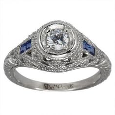 Art Deco Diamond Engagement Ring Vintage Sapphire Ring With Filigree & Milgrain