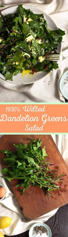 Wilted Dandelion Greens Salad - This vintage inspired recipe is packed with young dandelion greens, tossed with sizzling pancetta and topped with a soft boiled egg. It's easy and filling. #vintagerecipe