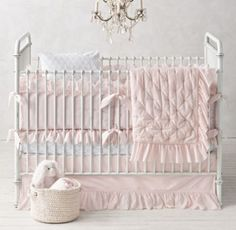 RH baby&child's Ruffled Voile & Petite Trellis Nursery Bedding Collection:Trimmed with a feminine, frayed-edge ruffle and detailed with three rows of seed-stitched embroidery in contrasting thread, our cotton voile nursery bedding provides a lovely ensemble for a baby girl?s first bed.