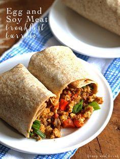 Egg Soy Meat Breakfast Burrito #soyswaps | honeyandbirch.com #sp