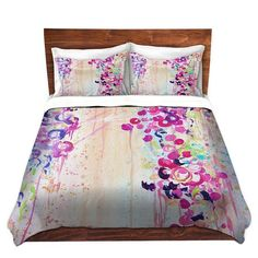 FEMININE Fine Art Duvet Covers Queen Twin Toddler by EbiEmporium, Lovely Girly Abstract Acrylic Painting Fine Art Modern Polka Dots Bubbles Japanese Cherry Blossom Sakura Floral Pink Purple Radiant Orchid Plum Peach White Feminine Chic Home Decor Flowers Bedroom Bedding Dorm Style #colorful #abstract #fineart #decor #homedecor #duvet #bedding #bedroom #whimsical #dorm #modern #girly