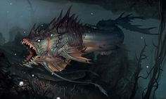 Fish Creature by Young Hwan Lee Learn to make monsters /o/-\o\ Original post found here Curious Creatures, Alien Creatures, Fantasy Creatures, Ocean Monsters, Cool Monsters, Creature Feature, Creature Design, Fantasy Dragon, Fantasy Art