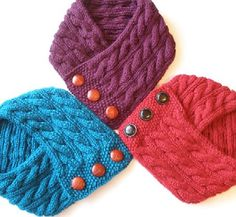 Cabled Neck Warmer Knitting Pattern PDF -- Permission granted to sell the ones you make -- INSTANT D Knitting Patterns Free, Knit Patterns, Hand Knitting, Sewing Patterns, Knitting Needles, Knit Cowl, Knit Crochet, Mode Turban, Sport Weight Yarn
