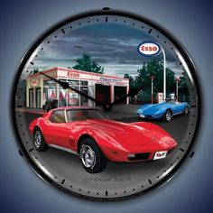 1974 Corvette Esso Backlit Clock