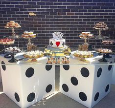 Close up of the dessert table from the casino themed birthday party styled by Lisa Davey.events