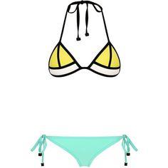 LULU TAHITI TANGO (110 CAD) ❤ liked on Polyvore featuring swimwear, bikinis, bikini, bathing suits, swimsuits, swim, neoprene triangle bikini, swim suits, triangle swim wear and triangle bathing suits