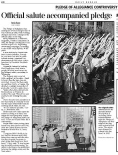 The Bellamy salute is the salute described by Francis Bellamy, to accompany the American Pledge of Allegiance, which he had authored. During the 1920s and 1930s, Italian fascists and Nazis adopted a salute which had the same form, which resulted in controversy over its use in the United States. It was officially replaced by the customary hand-over-heart method we see today when Congress amended the Flag Code on December 22, 1942.