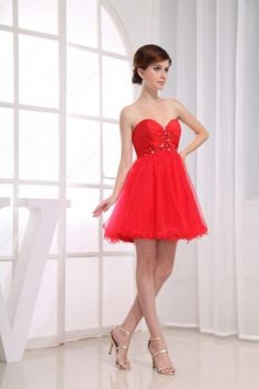 Wholesale - A-line Sweetheart Tulle Satin Short/Mini Red Beading Cocktail Dress