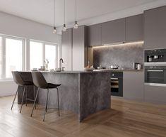 Kitchen at VWArtclub Kitchen Room Design, Kitchen Cabinet Colors, Kitchen Nook, Modern Kitchen Design, Home Decor Kitchen, Kitchen Layout, Kitchen Living, Interior Design Kitchen, Luxury Kitchens