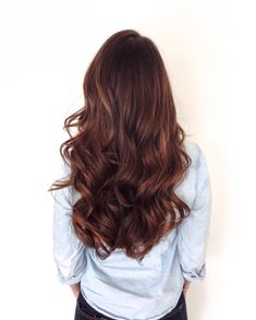 Long healthy brunette with soft sombre. Warm brown and golden tones.