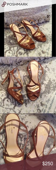 Kate Spade leather high heeled sandals They are in perfect condition, only worn once for few hours. They are very detailed high heel sandals very comfortable and they are so chic and trendy 🌸 kate spade Shoes Heels