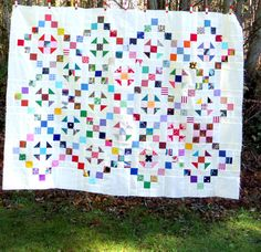 """Vintage Quilt Top, 9-patch and Shoo Fly, 40""""x54"""", unfinished"""