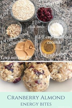 Cranberry Almond Coconut Energy Balls- healthy and tasty, perfect way to satisfy your sweet tooth and not feel guilty about it!