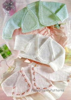 """PDF Knitting Pattern for  Baby Bolero Tops - To Fit Premature baby 12"""" to 22"""" - Instant Download"""