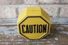 Vintage caution traffic sign plastic piggy bank