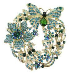 awesome EVER FAITH Butterfly Flower Brooch Pendant Blue Green Austrian Crystal