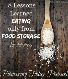 Ever wondered what would really happen if you only ate from the food you had on hand right now in your food storage or pantry? Learn these important 8 lessons on eating only from our food storage. I was surprised by and Survival Food, Survival Prepping, Emergency Preparedness, Survival Skills, Survival List, Survival Supplies, Survival Stuff, Homestead Survival, Emergency Food Storage