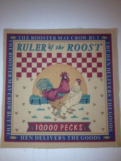 Vintage Feedsack Reproduction Rooster fabric by KoopsKountryKalico, $6.00