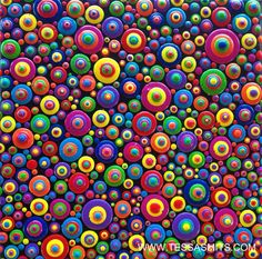 Abstract dot art painting life is fun by Tessa Smits #artpainting