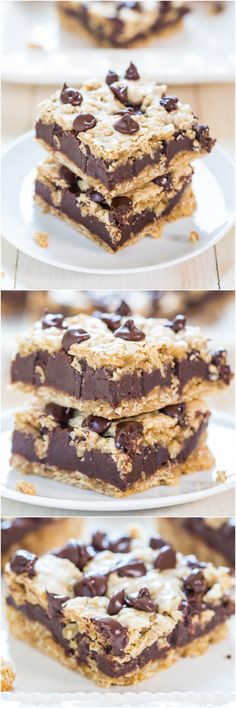Fudgy Oatmeal Chocolate Chip Cookie Bars - Chewy bars with a thick layer of fudge in the middle! Hello chocolate overload!