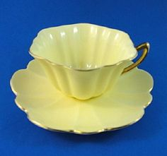 Pale Yellow with Gold Handle Shelley Tea Cup and Saucer Set