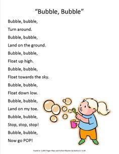 "Action song for a bubbles storytime, ""Bubbles, Bubbles"""