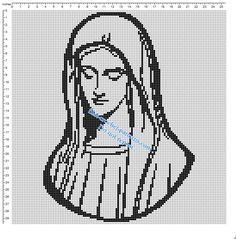 Virgin Mary small simple free crochet filet pattern - free filet crochet patterns download