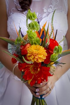 birds of paradise in the bridal bouquet