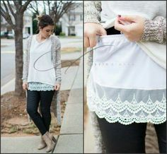 Shirt extender.. must get. Love the look and don't have to commit to just one shirt!