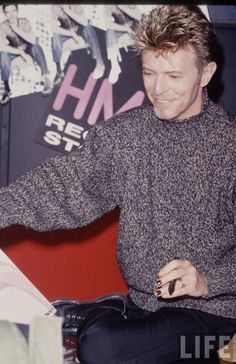 "September 26, 1995. David Bowie at HMV Records store in Manhattan for the promotion of ""Outside""."