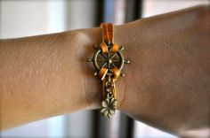 Brown Leather Antique Bronze Nautical Bracelet with Four by dgowin, $13.00