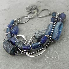 szkło afgańskie - kobaltowa bransoletka / formood / Biżuteria / Bransolety