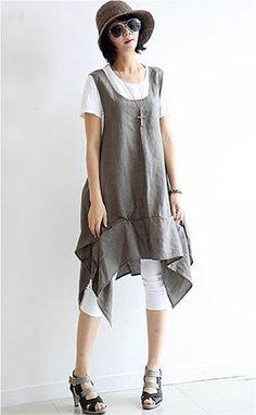 Casual Linen Dress in Gray