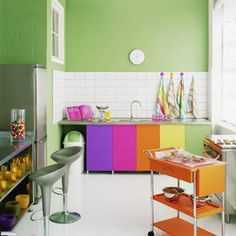 nice colourful kitchen, needs some clutter though..