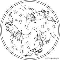 Mandala mit einer kleinen Hexe, die auf ihrem Besen reitet.