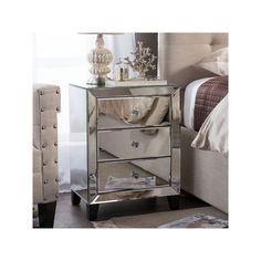 Baxton Studio Chevron Modern and Contemporary Hollywood Regency Glamour Style Mirrored Nightstand Bedside Table (Nightstand-Silver Mirrored), Clear, Size (MDF) Silver Nightstand, 3 Drawer Nightstand, Dresser With Mirror, Mirrored Dresser, Bedside Cabinet, Cheap Nightstand, Nightstand Ideas, Mirror Bed, Glass Dresser