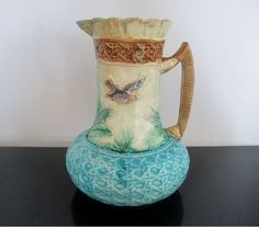 Antique French VICTORIAN Majolica Bird SPARROW & Leaves Pitcher GORGEOUS Colors