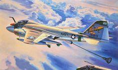 Grumman KA-6D Tanker (Hasegawa box art) Navy Carriers, Aircraft Painting, Military Jets, Aviation Art, Us Navy, Box Art, Painting & Drawing, Wwii, Drawings
