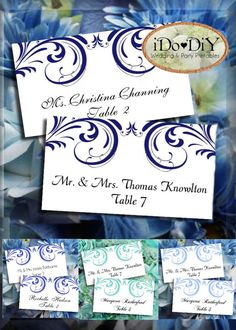 swirls place cards template green shades flat or tented styles