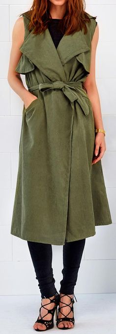A vest coat to get with $21.99&free shipping&easy return! Triple treat for your fall fashion,dear! It is a long army green falbala one detailed with belt at waist, big lapel&side pockets. Seek more casual style at Cupshe.com .