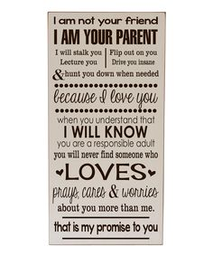 Look what I found on #zulily! Cream & Brown 'I Am Your Parent' Wall Art by Vinyl Crafts #zulilyfinds