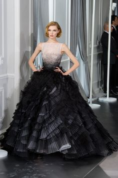 Wow! Gorgeous fanned ruffled layers on this dress. Black beauty. Christian Dior Couture Spring 2012