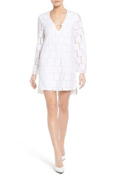 KENDALL + KYLIE 'Grid Lace' Long Sleeve Minidress available at #Nordstrom