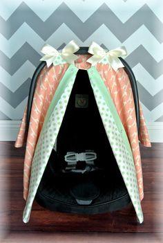 GIRAFFE car seat canopy car seat cover CORAL by JaydenandOlivia