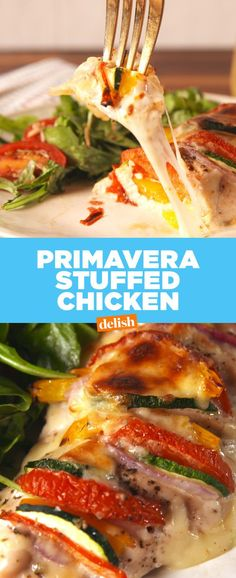 Best Primavera Stuffed Chicken Recipe - How to Make Primavera Stuffed Chicken #foodrecipe