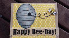 Rustic Handmade Happy Bee-Day Birthday Card by MaidenLongIsland on Etsy