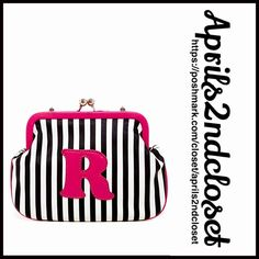 "Striped Clutch Mini Crossbody Bag NEW WITH TAGS   Striped Clutch Mini Crossbody Bag Oversized Clutch    * Allover striped print w/an R initial detail  * Single chain shoulder strap & kiss lock closure  * 1 interior wall card slot  * Approx.6""H x 8""W x 1"" D  * Approx. a 23"" strap  * Semi Firm structure bag Material: PU exterior & polyester lining Color:Pink  Multi  No Trades ✅ Offers Considered*/Bundle Discounts✅ *Please use the 'offer' button to submit your best offer. Boutique Bags…"